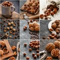 Nuts collage, different colorful nuts backgrounds. Healthy food Royalty Free Stock Photo