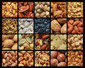 Nuts collage showing different kind of with or without shell Stock Photo
