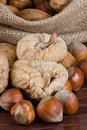 Nuts and dried figs Royalty Free Stock Images