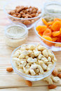 Nuts and dried fruit in assortment food closeup Royalty Free Stock Images