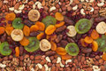 Nuts and dried fruits are on burlap as background Royalty Free Stock Image