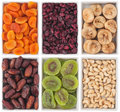 Nuts and dried fruits in ceramic plate on white background Stock Photos
