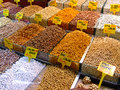 Nuts dried and snacks at market in istanbul Royalty Free Stock Photo