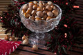 Nuts a glass bowl with hazelnuts for christmas Stock Photo