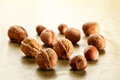 Nuts and hazelnuts walnuts put on the table Royalty Free Stock Images