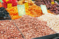 Nuts on market stand Royalty Free Stock Photo