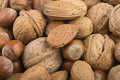 Nuts mix close up on the wood table Royalty Free Stock Photography