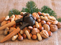 Nuts and nutcracker Royalty Free Stock Images