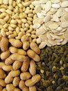 Nuts and pumpkin seeds Royalty Free Stock Photo
