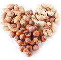 Nuts in the shape of heart Royalty Free Stock Photos
