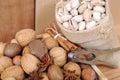 Nuts in shells hazelnut almond brazil nut walnut pistachio and pecan Stock Photography