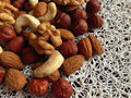 Nuts variety of close up Royalty Free Stock Photography