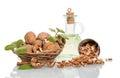 Nuts in wicker basket Royalty Free Stock Photo