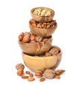Nuts in a wooden bowl Royalty Free Stock Photo