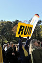 NY Nov 7: Fan holds sign saying Run NYC Marathon Stock Photography