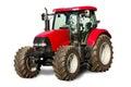 Ny röd traktor Fotografering för Bildbyråer