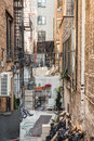 Nyc alley typical between buildings in new york city Royalty Free Stock Photos