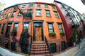 Nyc apartment building federal style buildings in west village new york city Royalty Free Stock Images