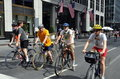 NYC: Bicyclists Wearing Helmets Stock Photography