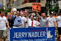 Nyc congressman nadler marching in gay pride parade united states representative to congress jerry center with red necktie the on Royalty Free Stock Photos