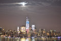 Nyc downtown a beautiful sight of on a full moon Stock Photos