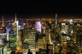 Nyc from empire state building night view of the top of buidling Royalty Free Stock Photos