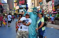 NYC: Family Posing with Statue of Liberty Mime Royalty Free Stock Photo