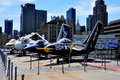 Nyc intrepid museum jet aircraft a variety of are displayed on the flight deck of the u s s sea air space moored on the hudson Stock Photography