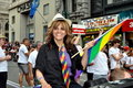 NYC: Jane Velez-Mitchell at Gay Pride Parade Royalty Free Stock Image