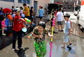 NYC:  Little Boy Gets Soaked at Water Festival Stock Photo