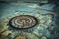 NYC Manhole drain cover Royalty Free Stock Photo