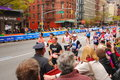 Nyc marathon along st avenue Royalty Free Stock Photo