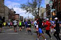 Nyc marathon athletes running during the new york city Stock Image