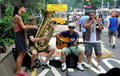 NYC: Musicians at Street Festival Stock Photos