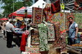 NYC: Oriental Carpets Booth at Street Festival Stock Photo