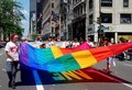NYC: Rainbow Flag at Gay Pride Parade Stock Image