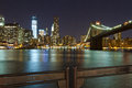 NYC Skyline and the Manhattan Bridge Royalty Free Stock Photo