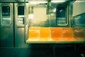 Nyc subway vintage toned image of empty new york city car Royalty Free Stock Image