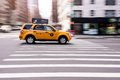 Nyc yellow cab speeding across intersection new york city is an driving a ford escape suv Stock Image