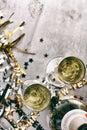 Nye champagne to celebrate new year no fundo do grunge Foto de Stock Royalty Free