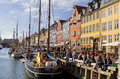 Nyhavn in copenhagen denmark april unknown people enjoying on a sunny spring day at Stock Photo