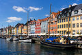 Nyhavn district in copenhagen denmark historic canal and entertainment Royalty Free Stock Photography