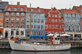 Nyhavn view from in copenhagen denmark with a moored fishing boat Royalty Free Stock Photography