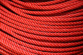 Nylon rope roll texture of red Stock Photo