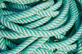 Nylon rope at a ship in the harbor Stock Photo
