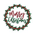 Merry Christmas text, with mistletoe wreath, hand drawn graphics. Royalty Free Stock Photo