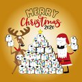 Merry  Christmas 2020 -Funny reindeer and Santa Claus in facemask and toilet paper christmas tree. Royalty Free Stock Photo