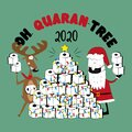 Oh, Quarant-tree 2020 - Funny reindeer and Santa Claus in facemask and toilet paper christmas tree.
