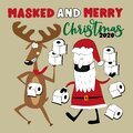 Masked and Merry Christmas 2020 - Reindeer and Santa Claus with toilet papers. Royalty Free Stock Photo