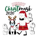 Merry Chrsitmask 2020- Boston Terrier and Santa Claus with toilet papers. Royalty Free Stock Photo